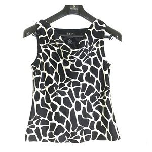 NWOT INC Silk Blouse in Black and White